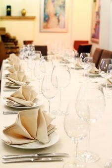 Banquet Table With Restaurant Serving Royalty Free Stock Image