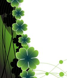 Free Clover On The Wavy Green Background Royalty Free Stock Images - 18786139