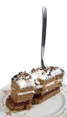 Cake And Fork Stock Photography