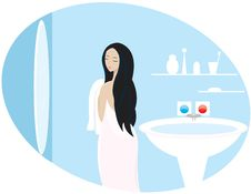 Free A Girl Is In A Bathroom Royalty Free Stock Images - 18787489