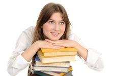 Free Student Girl With Books Stock Image - 18789101
