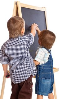 Free Boys Are Drawing On A Blackboard Royalty Free Stock Photos - 18789188