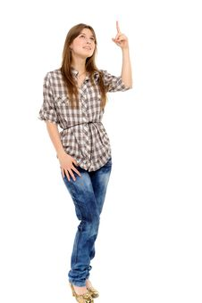 Woman Showing On Something By A Finger Stock Photos