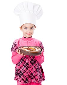 Free A Little Girl Is Holding A Plate Of Pie Royalty Free Stock Images - 18789329