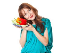 Free A Pregnant Woman With A Plate Of Vegetables Royalty Free Stock Image - 18789466