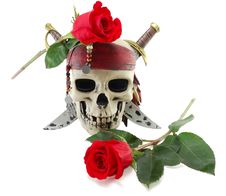Free Skull And Red Rose Royalty Free Stock Photo - 18790105