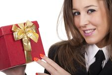 Woman Holding A Gift Red Box Royalty Free Stock Image