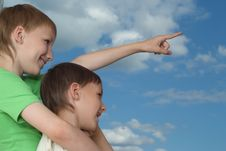 Free Two Happy Brothers Stand Royalty Free Stock Images - 18791339
