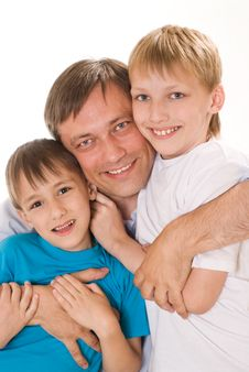 Free Happy Dad With Children Royalty Free Stock Photo - 18791475