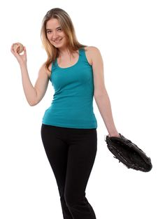 Free Woman With A Baseball Glove Stock Image - 18793741