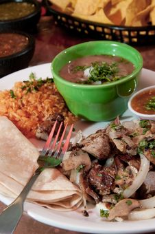 Tacos With Rice And Beans Stock Photography