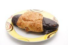 Free Croissant With Chocolates Glaze Stock Photo - 18795190
