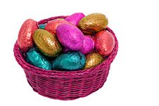 Free Shiny Easter Egg Pink Basket Royalty Free Stock Images - 18795509