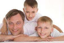 Father With His Two Sons Stock Photo