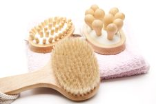 Massage Brush And Towel Royalty Free Stock Image