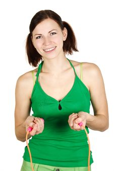 Free Girl In Green Shirt With Skipping Rope, Smiling Royalty Free Stock Photography - 18799047