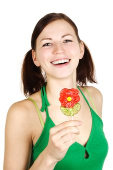 Free Girl In Green Shirt Holding Flower Lollipop Stock Images - 18799054