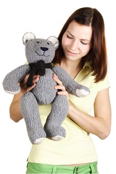 Girl Holding Soft Bear Toy Royalty Free Stock Image