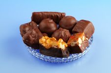 Free Chocolates On Blue Royalty Free Stock Photo - 1880815