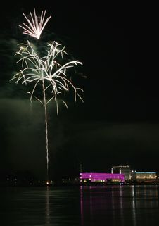 Fireworks Over The Danube In Linz, Austria 12 Royalty Free Stock Image