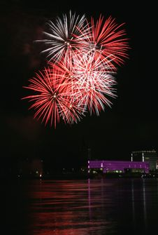 Fireworks Over The Danube In Linz, Austria 16 Royalty Free Stock Images