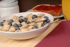 Free Wheat Cereal With Blueberries, Toast And Orange Juice Stock Photo - 1883830