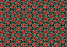 Red Poppies Circles Pattern Stock Image
