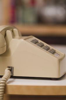 Older Beige Colored Touch Tone Phone 01 Royalty Free Stock Photography