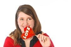 Free Smiling With Red Lollipop Stock Photo - 1887750