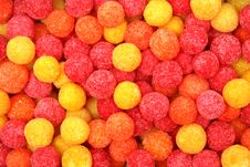 Round Sugar Sweets Of Red And Yellow Color Stock Image
