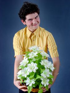 Free Boy With Flowers Royalty Free Stock Photo - 1888375