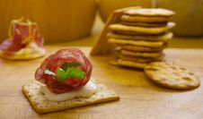 Free Pile Of Crackers With One Served With Italian Meat Royalty Free Stock Photos - 18800158