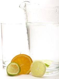 Free Lemon, Lime And Orange With A Jug And A Glass Stock Photography - 18800202