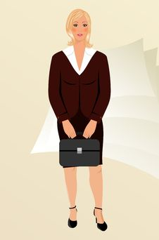 Free Business Women With Case Isolated Royalty Free Stock Image - 18800436
