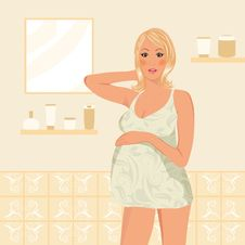 Free Pregnant Women In Bathroom Stock Image - 18800571