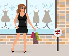 Free Modern Girl Loaded With Shopping Bags Royalty Free Stock Photo - 18800645