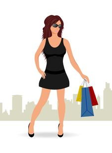 Free Shopping Girl With Bags Royalty Free Stock Photography - 18800647