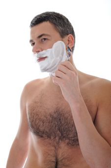 Young Handsome Male Shaving Face Beard Stock Image