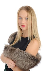 Free Beautiful Woman In Elegant Animal Fur Jacket. Stock Images - 18800864