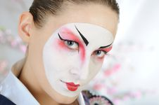 Free Japan Geisha Woman With Creative Make-up. Stock Photos - 18800943