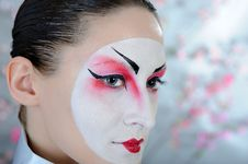 Free Japan Geisha Woman With Creative Make-up. Stock Images - 18800974