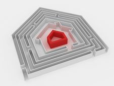 Free RED HOUSE IN LABYRINTH. Stock Photo - 18803660