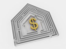 Free Dollar Sign In Labyrinth. Royalty Free Stock Image - 18803696