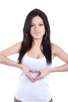 Free Active Energy Woman Heart Sign Royalty Free Stock Image - 18805486