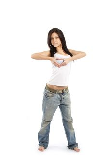 Free Active Energy Woman Heart Sign Stock Image - 18805501