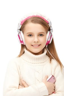 Attractive Girl Blue Eyes In Headphones Royalty Free Stock Images