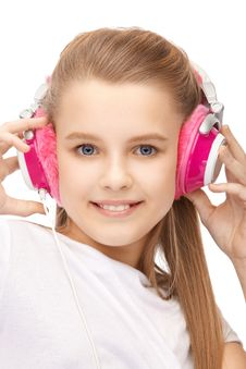 Free Young Attractive Girl With Blue Eyes In Headphones Royalty Free Stock Photos - 18807118