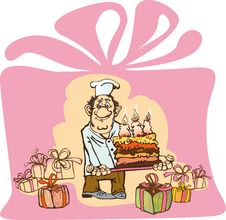 Free Benevolent Baker Makes A Cake With Three Candlesbe Stock Photo - 18807540