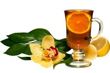 Free Tea In A Glass Glass, A Lemon, Flowers Royalty Free Stock Photo - 18808095