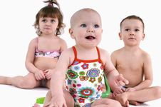 Free Three Small Children In Swimsuit Stock Photos - 18808563